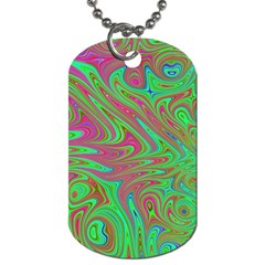 Fractal Art Neon Green Pink Dog Tag (one Side)