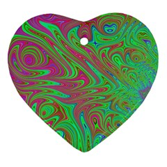 Fractal Art Neon Green Pink Heart Ornament (two Sides)