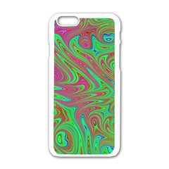 Fractal Art Neon Green Pink Apple Iphone 6/6s White Enamel Case