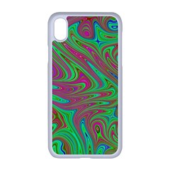 Fractal Art Neon Green Pink Apple Iphone Xr Seamless Case (white)