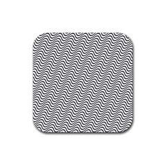Wave Wave Lines Diagonal Seamless Rubber Square Coaster (4 Pack)