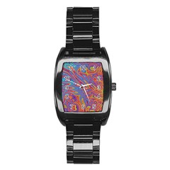 Fractal Psychedelic Fantasy Surreal Stainless Steel Barrel Watch
