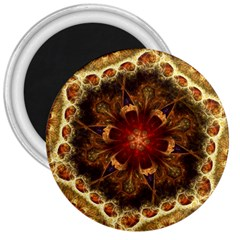 Dawn Day Fractal Sunny Gold Red 3  Magnets
