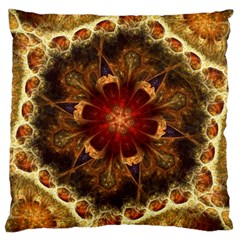 Dawn Day Fractal Sunny Gold Red Large Cushion Case (two Sides)