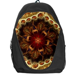 Dawn Day Fractal Sunny Gold Red Backpack Bag by Pakrebo