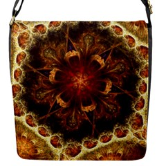 Dawn Day Fractal Sunny Gold Red Flap Closure Messenger Bag (s)