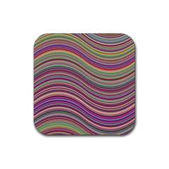 Wave Abstract Happy Background Rubber Square Coaster (4 Pack)  by Pakrebo