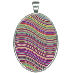 Wave Abstract Happy Background Oval Necklace