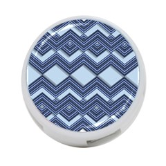 Textile Texture Fabric Zigzag Blue 4 Port Usb Hub (one Side)