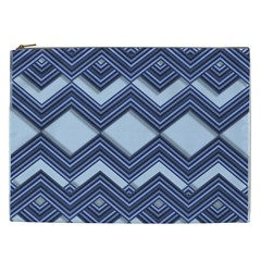 Textile Texture Fabric Zigzag Blue Cosmetic Bag (xxl)