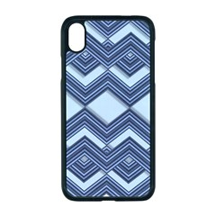 Textile Texture Fabric Zigzag Blue Apple Iphone Xr Seamless Case (black)