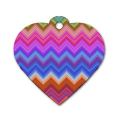 Pattern Chevron Zigzag Background Dog Tag Heart (two Sides)