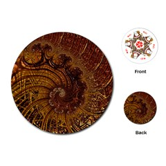 Copper Caramel Swirls Abstract Art Playing Cards (round)