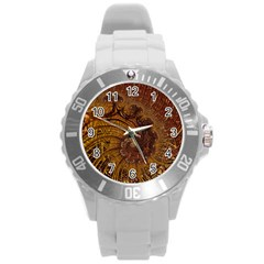 Copper Caramel Swirls Abstract Art Round Plastic Sport Watch (l)
