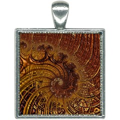 Copper Caramel Swirls Abstract Art Square Necklace by Pakrebo