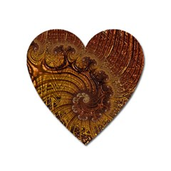 Copper Caramel Swirls Abstract Art Heart Magnet by Pakrebo