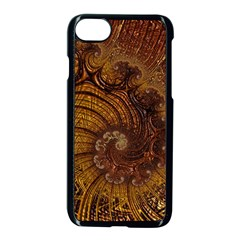 Copper Caramel Swirls Abstract Art Apple Iphone 7 Seamless Case (black)