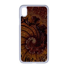 Copper Caramel Swirls Abstract Art Apple Iphone Xr Seamless Case (white)
