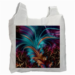 Feather Fractal Artistic Design Recycle Bag (one Side) by Pakrebo