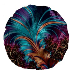 Feather Fractal Artistic Design Large 18  Premium Flano Round Cushions
