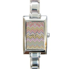 Chevron Colorful Background Vintage Rectangle Italian Charm Watch