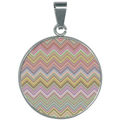 Chevron Colorful Background Vintage 30mm Round Necklace by Pakrebo