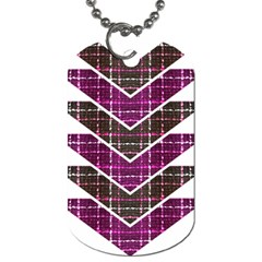 Fabric Tweed Purple Brown Pink Dog Tag (two Sides)
