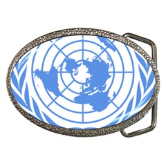 Blue Emblem Of United Nations Belt Buckles by abbeyz71
