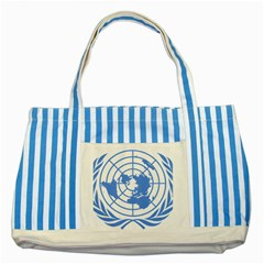 Blue Emblem Of United Nations Striped Blue Tote Bag by abbeyz71