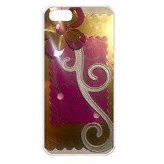 Purple Flower With Shine Apple Iphone 5 Seamless Case (white) by DeneWestUK