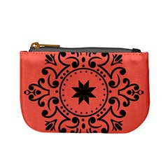 Floral Design Black And Living Coral Mini Coin Purse