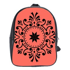 Floral Design Black And Living Coral School Bag (large)