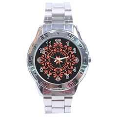 Floral Design Living Coral  And Black Stainless Steel Analogue Watch