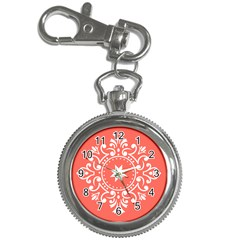 Floral Design White And Living Coral Key Chain Watches