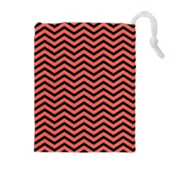 Chevron  Effect In Living Coral Drawstring Pouch (xl) by TimelessFashion