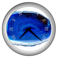 Agathe Blue Slice Geode Slice Wall Clock (silver)