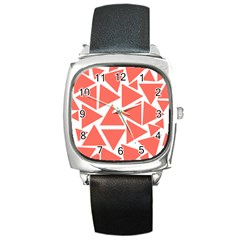Living Coral Triangles Square Metal Watch