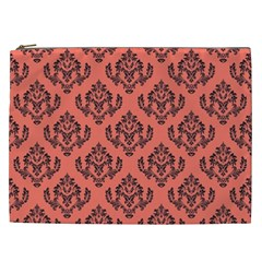 Damask Black On Living Coral Cosmetic Bag (xxl)