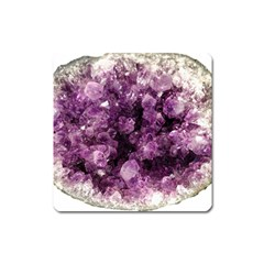 Amethyst Purple Violet Geode Slice Square Magnet by genx