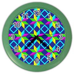 Pattern Star Abstract Background Color Wall Clock