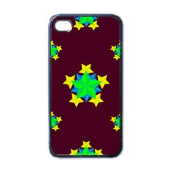 Pattern Star Vector Multi Color Apple Iphone 4 Case (black)