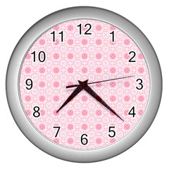 Traditional Patterns Pink Octagon Wall Clock (silver)