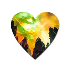 Forest Trees Nature Wood Green Heart Magnet by Pakrebo