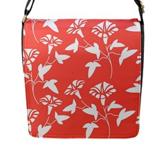 Floral In Coral  Flap Closure Messenger Bag (l)