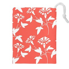 Floral In Coral  Drawstring Pouch (xxl)