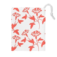 Floral In Coral  Drawstring Pouch (xl) by TimelessFashion