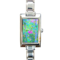 Pink Rose Of Sharon Impressionistic Blue Landscape Garden Rectangle Italian Charm Watch
