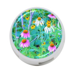 White And Purple Coneflowers And Yellow Rudbeckia 4 Port Usb Hub (two Sides)