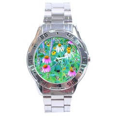 White And Purple Coneflowers And Yellow Rudbeckia Stainless Steel Analogue Watch by myrubiogarden