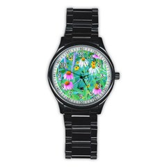White And Purple Coneflowers And Yellow Rudbeckia Stainless Steel Round Watch